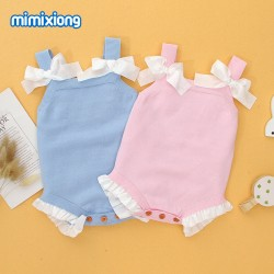 Mimixiong 100% Cotton Baby Knitted Sleeveless Rompers 82W408