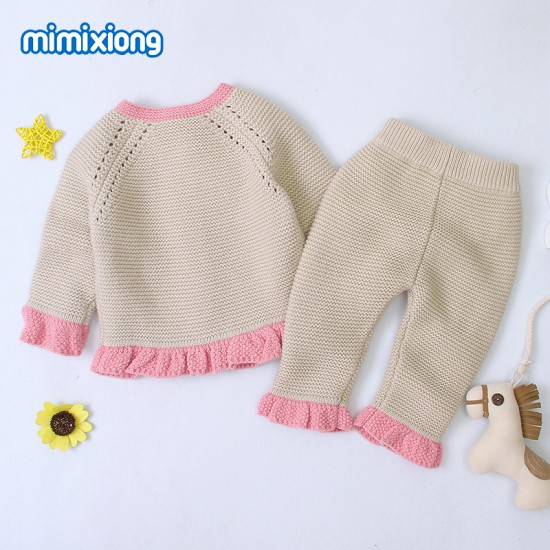 Mimixiong Baby Knitted 2pc Clothing Coat Pants Set 82W449-461
