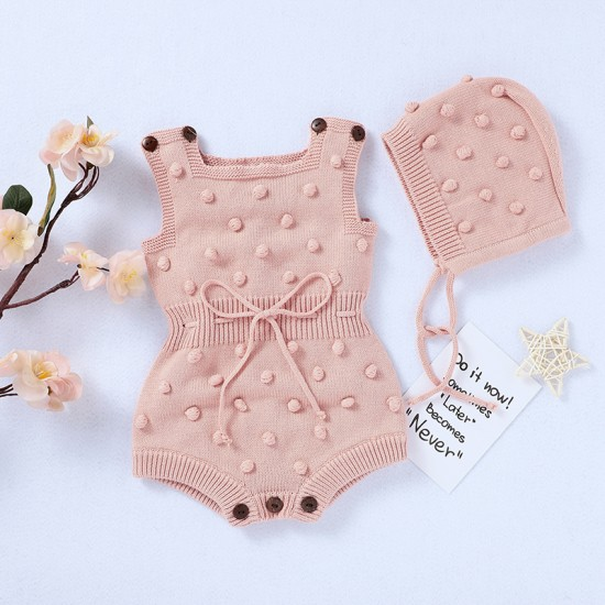 Mimixiong 100% Cotton Baby Knitted Romper Hat 2pc Clothing Set 82W622-630