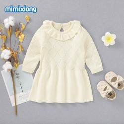 Mimixiong 100% Cotton Baby Knitted Girl Dress 82W645