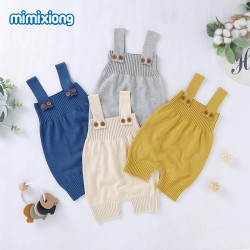 Mimixiong 100% Cotton Baby Knitted Sleeveless Rompers 82W650