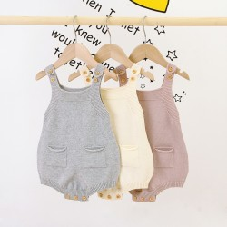 Mimixiong 100% Cotton Baby Knitted Sleeveless Rompers 82W705