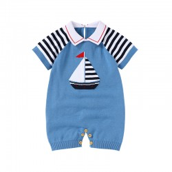 100% Cotton Baby Knitted Short Sleeve Romper 82W711