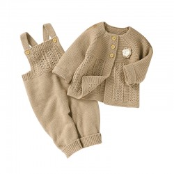 Mimixiong Baby Knitted Romper Coat 2pc Clothing Set 82W716-717