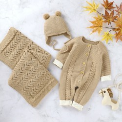 Mimixiong Baby Knitted Romper Blanket Hat 3pc Clothing Set 82W720-722-723