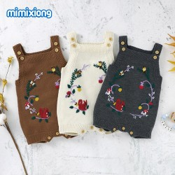 Mimixiong Baby Knitted Sleeveless Rompers 82W727