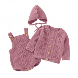 Mimixiong Baby Knitted Romper Coat Hat 3pc Clothing Set 82W823-825-826