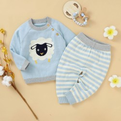Mimixiong 100% Cotton Baby Knitted Sweater Pants 2pc Clothing Set 82W835