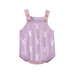 Mimixiong 100% Cotton Baby Knitted Sleeveless Rompers 82W673