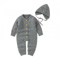 Mimixiong Baby Knitted Romper Hat 2pc Clothing Set 82W735-737